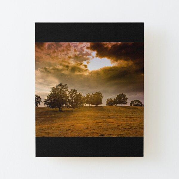 Dark landscape, stormy sky Wood Mounted Print