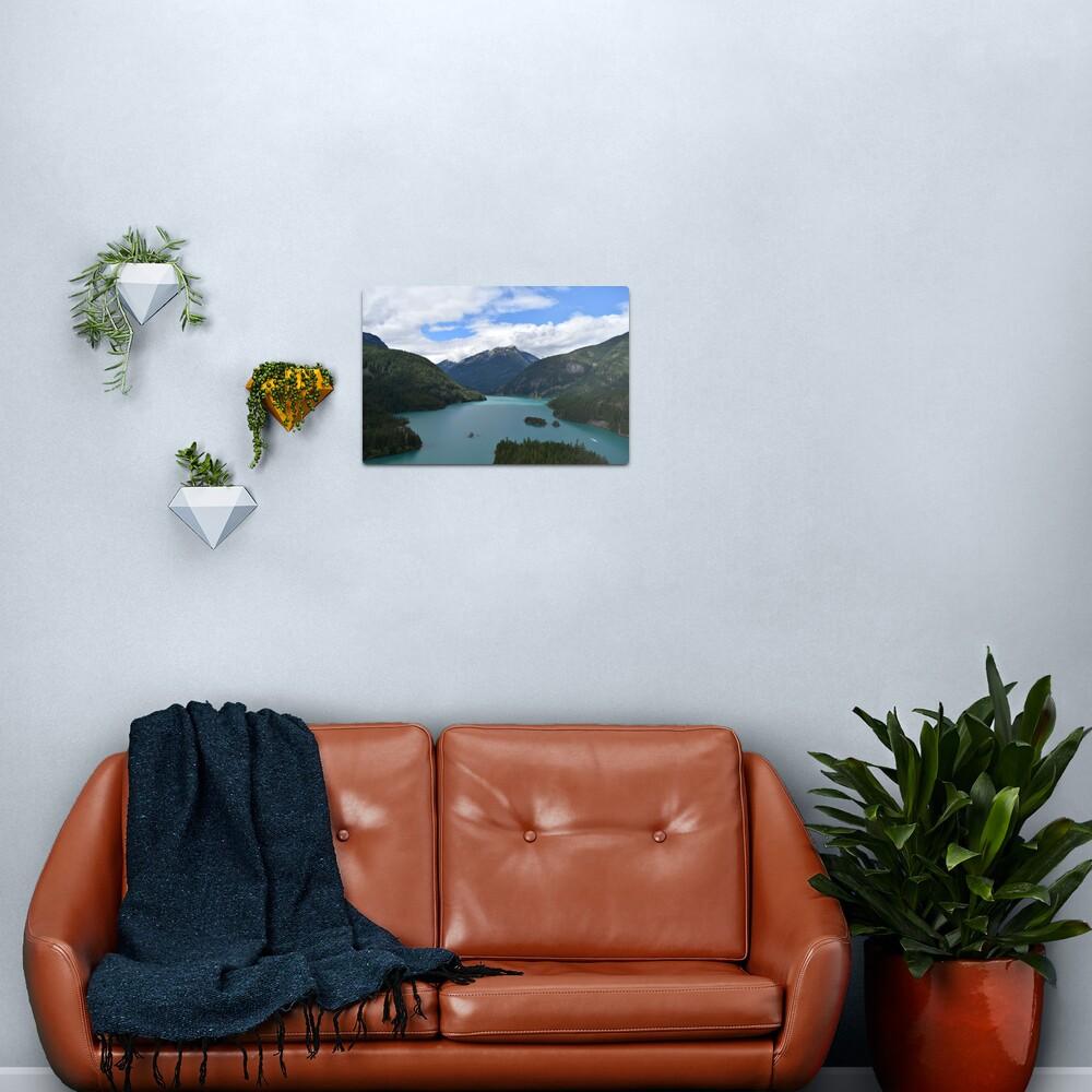 Mountains and Lake Landscape Photograph Metal Print