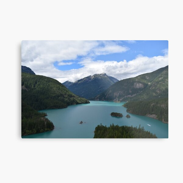Mountains and Lake Landscape Photograph Metal Print