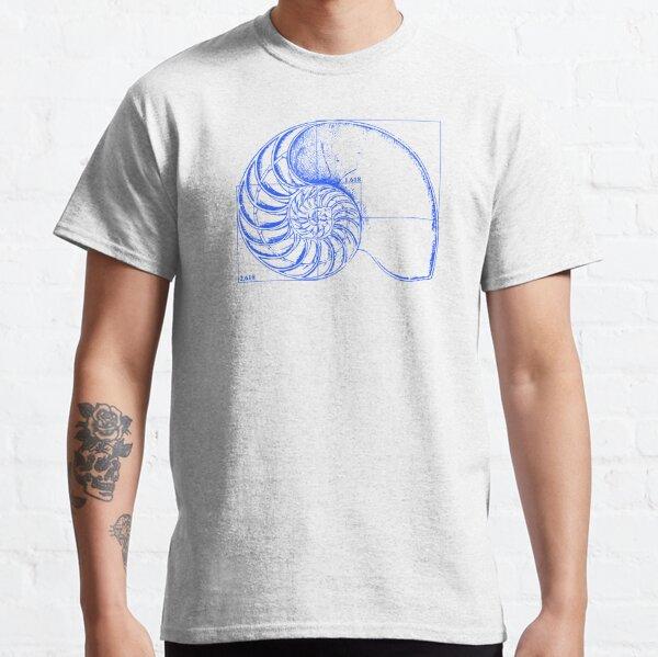 Fibonacci on a nautilus shell (blue) Classic T-Shirt