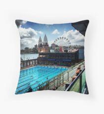 Luna Park/North Sydney Olympic Swimming Pool Throw Pillow