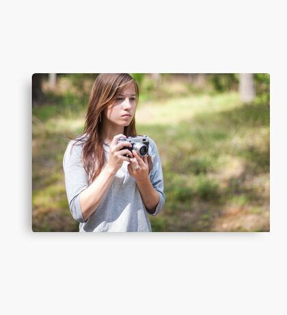 Selfportrait with a camera Canvas Print