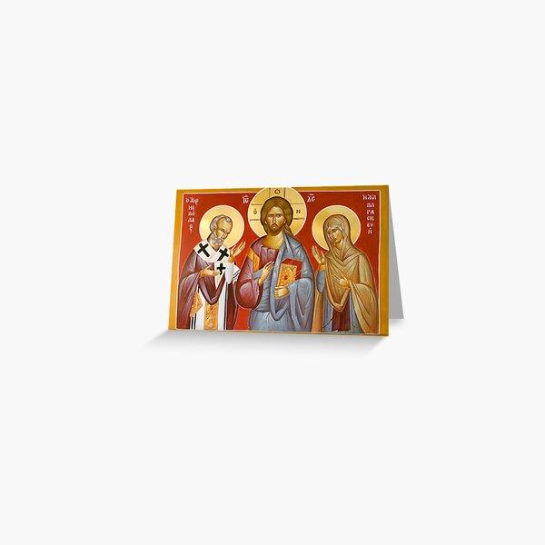 Deisis: Christ, St Nicholas & St Paraskevi Greeting Card