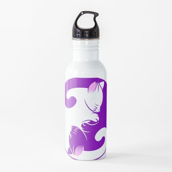 Púrpura Yang Yin Yang Gatito Gato Símbolo Yin Lindo Botella de agua