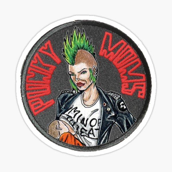 Minerva OG Punky Moms Patch Logo Red Sticker