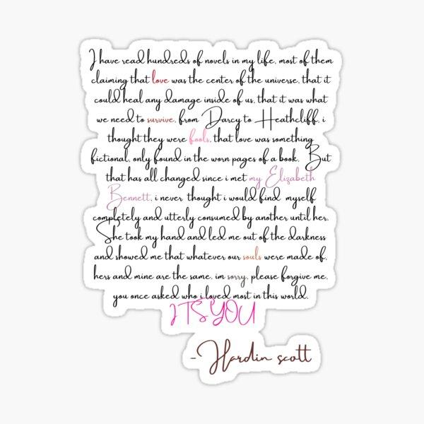 Hardin Scott's Letter to Tessa Sticker