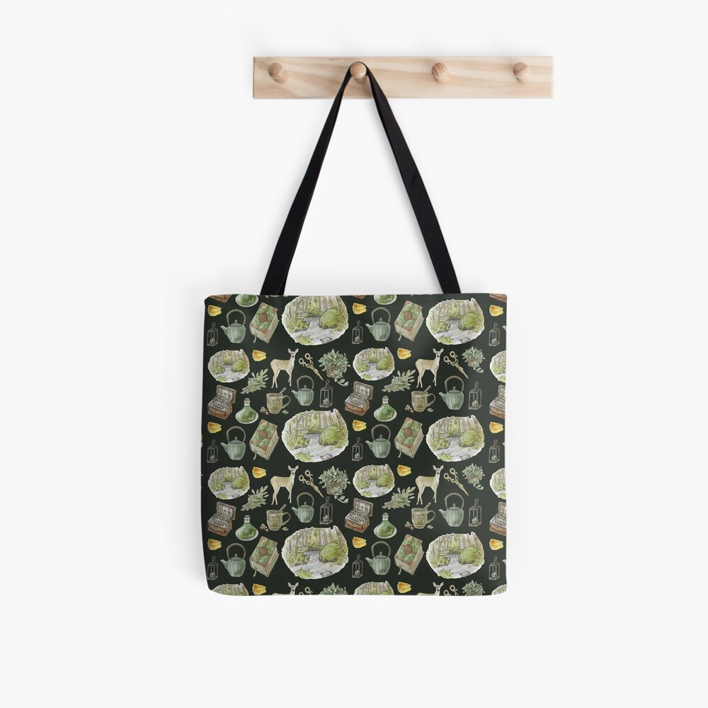 Green Witch Pattern - Wrap Around with Dark Background Tote Bag