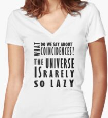 The universe is rarely so lazy /on light colours/ Women's Fitted V-Neck T-Shirt