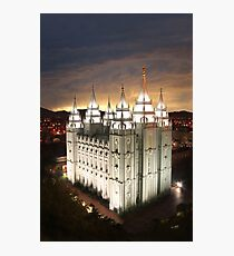 Salt Lake Temple Cloudy Sunset 20x30 Photographic Print