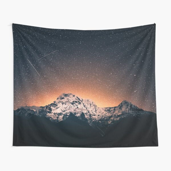Star Mountain Milky Way Night Tapestry