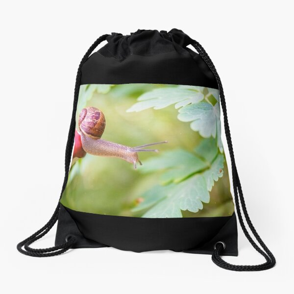 The snail who defies gravity to reach her kid. Drawstring Bag