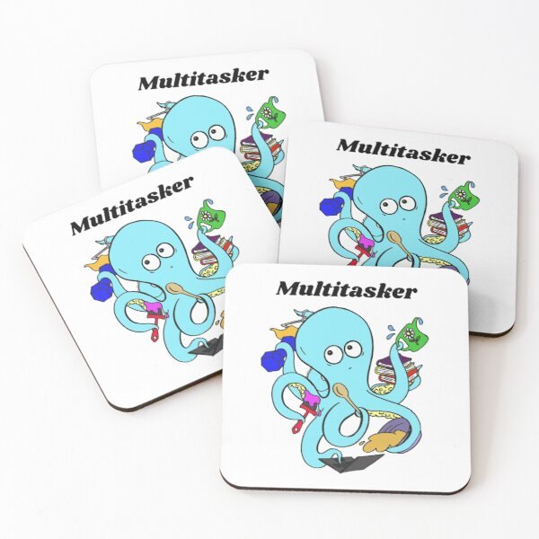 Cute and Funny Octopus Multitasker Design Coasters (Set of 4)