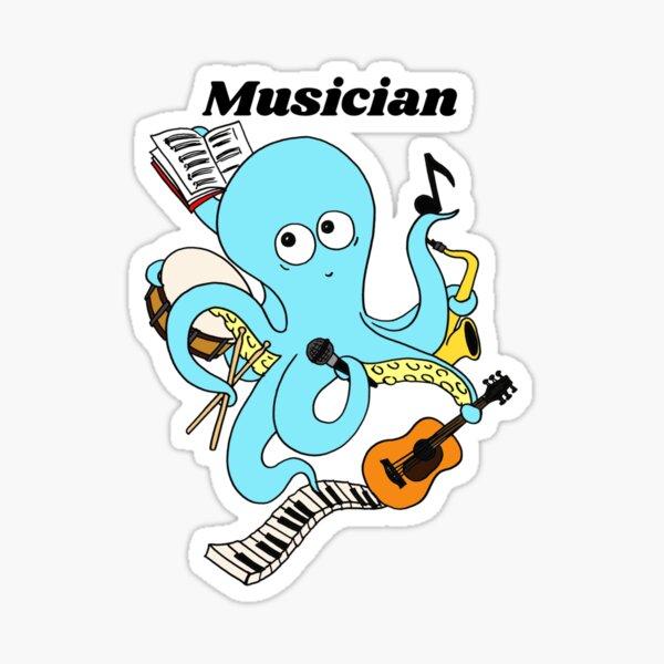 Cute and Funny Musician Octopus Design  Sticker