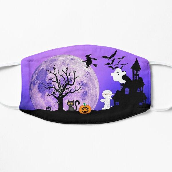 Halloween face mask for kids purple sky Flat Mask