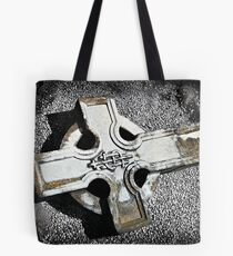 Graveyard Adornments #12 - Fallen cross on a bed of shells Tote Bag