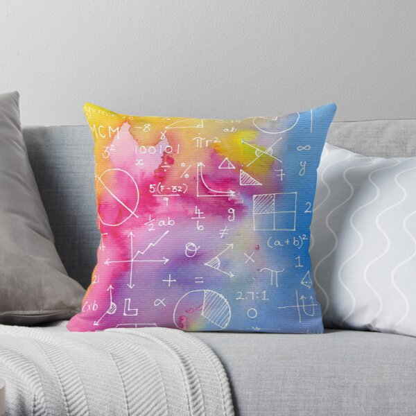 Math formulae (watercolor background) Throw Pillow