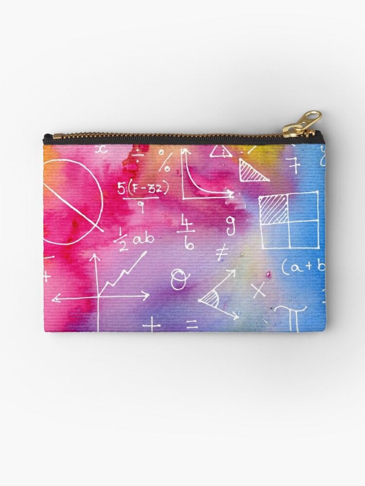 math formulae (watercolor background) zipper pouch