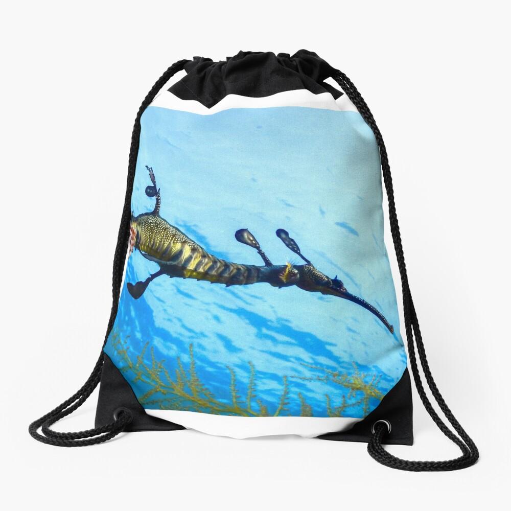Weedy Seadragon with eggs under the sea Drawstring Bag