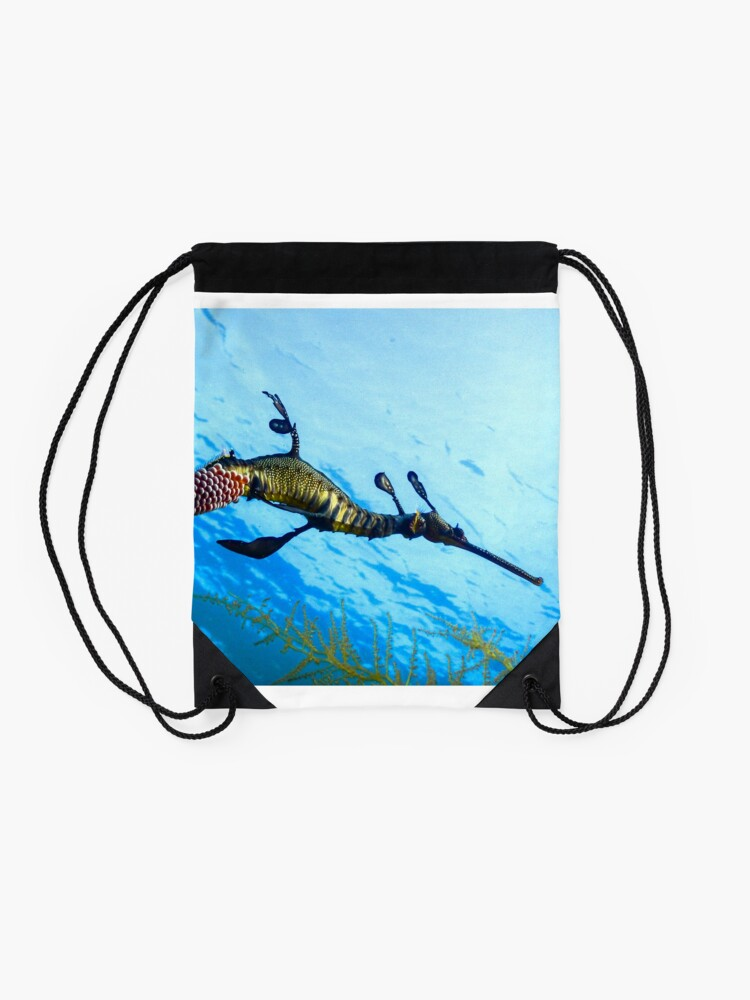Alternate view of Weedy Seadragon with eggs under the sea Drawstring Bag