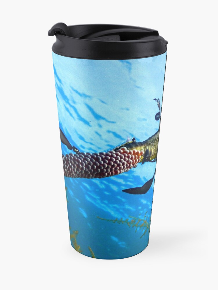 Alternate view of Weedy Seadragon with eggs under the sea Travel Mug