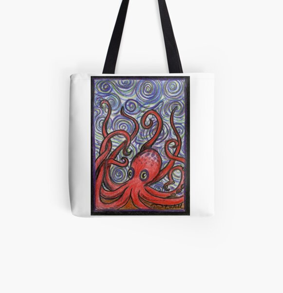 Octopus and Swirls All Over Print Tote Bag