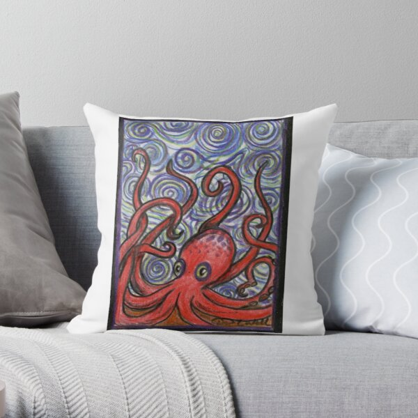 Octopus and Swirls Throw Pillow