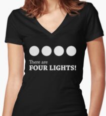There are FOUR LIGHTS! (White Ink) Women's Fitted V-Neck T-Shirt