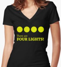 There are FOUR LIGHTS! (Yellow Ink) Women's Fitted V-Neck T-Shirt