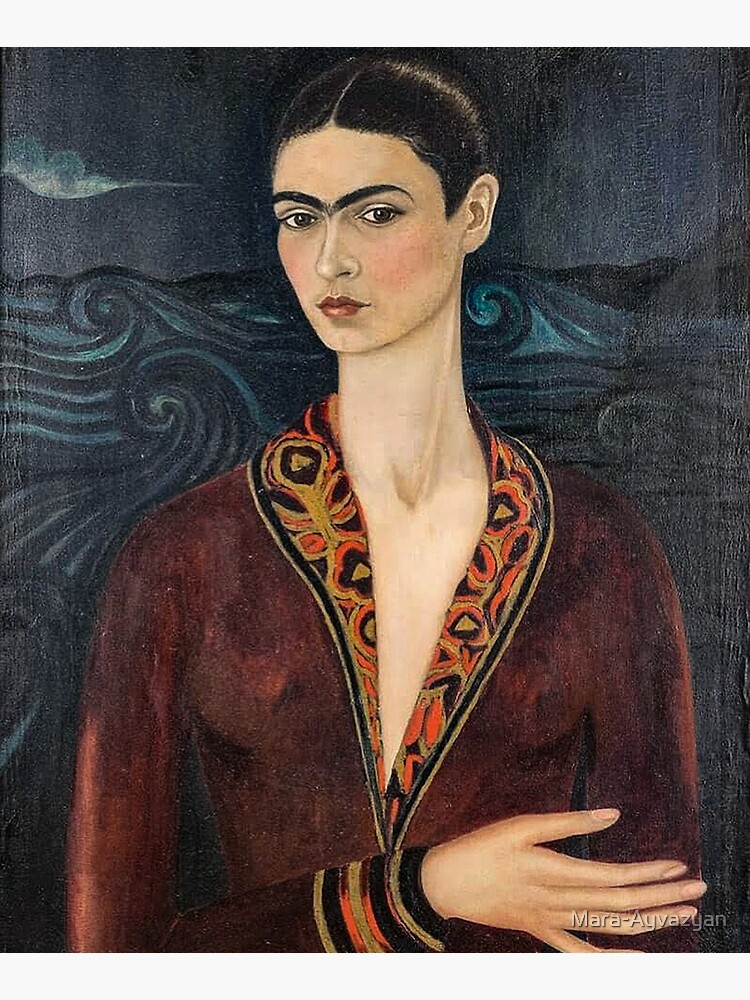 Self-portrait wearing a velvet dress by Frida Kahlo by Mara-Ayvazyan