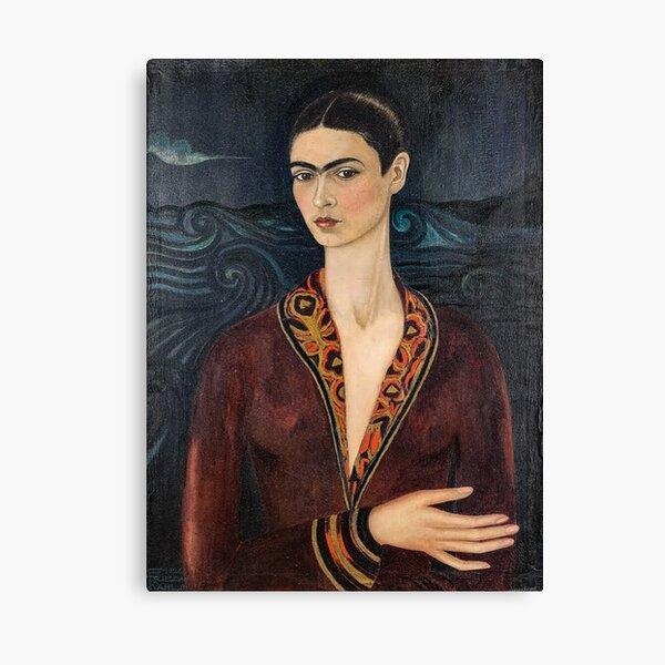 Autoportrait vêtu d'une robe en velours par Frida Kahlo Impression sur toile