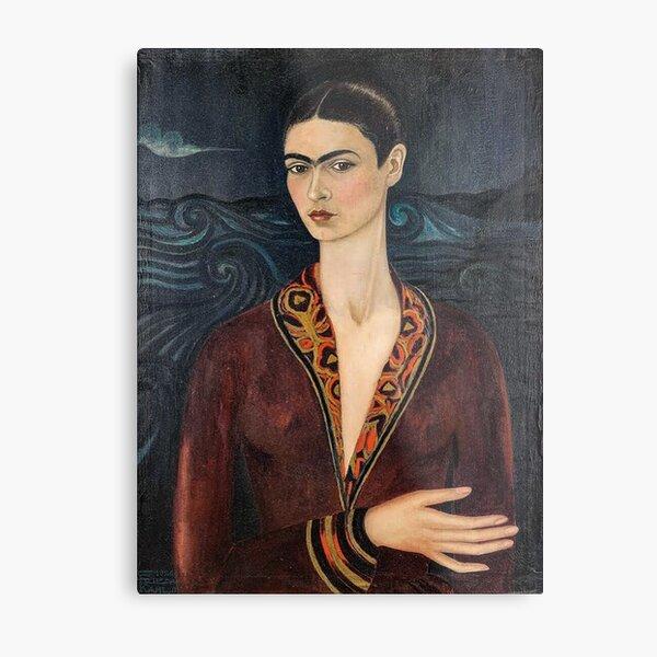 Self-portrait wearing a velvet dress by Frida Kahlo Metal Print