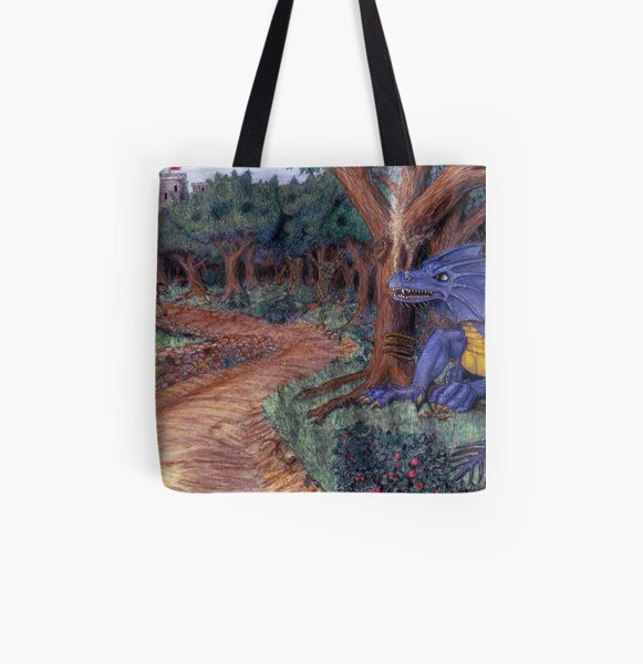 Lying In Wait - Dragon and Maiden All Over Print Tote Bag