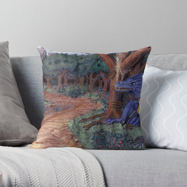 Lying In Wait - Dragon and Maiden Throw Pillow