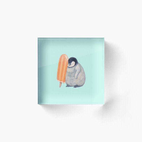 penguin with orange Popsicle    ★My original work can be seen at https://www.gabbagallery.com/summersurprise Acrylic Block