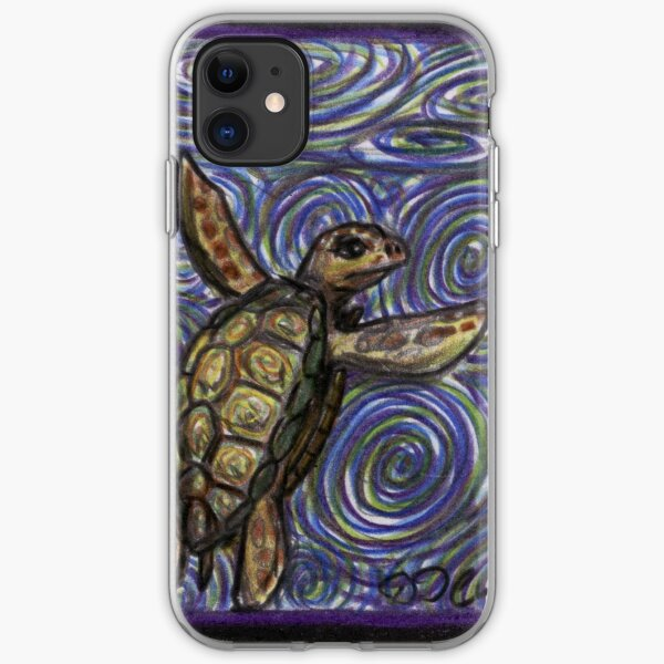 Loggerhead Turtle and Swirls iPhone Soft Case