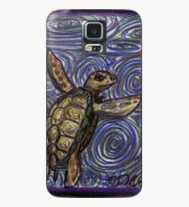 Loggerhead Turtle and Swirls Case/Skin for Samsung Galaxy