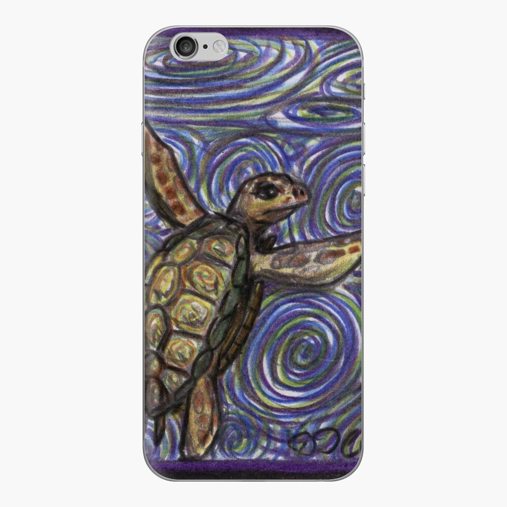Loggerhead Turtle and Swirls iPhone Skin