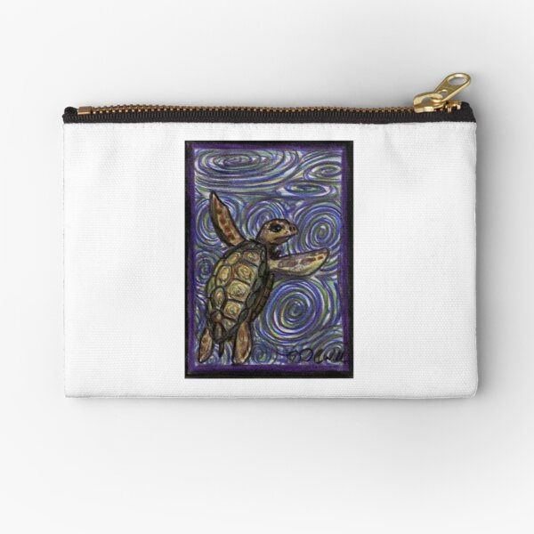 Loggerhead Turtle and Swirls Zipper Pouch