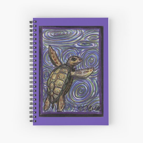 Loggerhead Turtle and Swirls Spiral Notebook