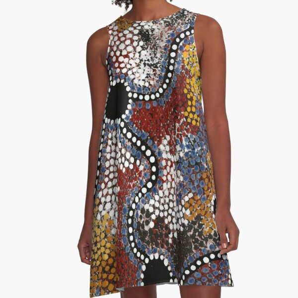Authentic Aboriginal Art -  Travels A-Line Dress