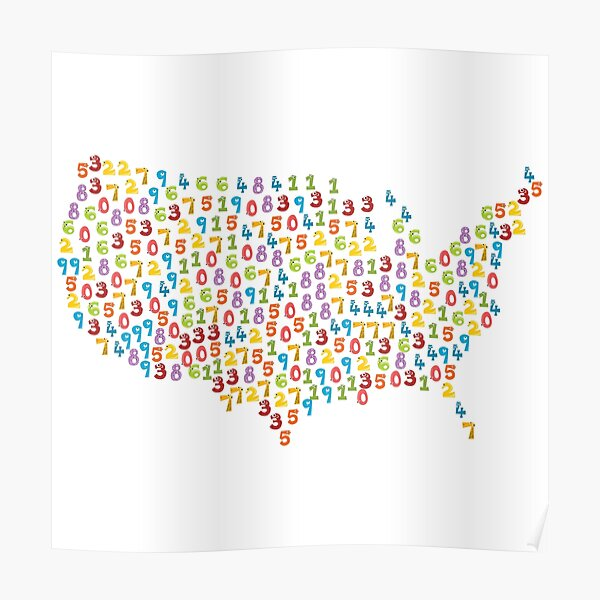 United States of America States Funny Numbers For Kids Poster
