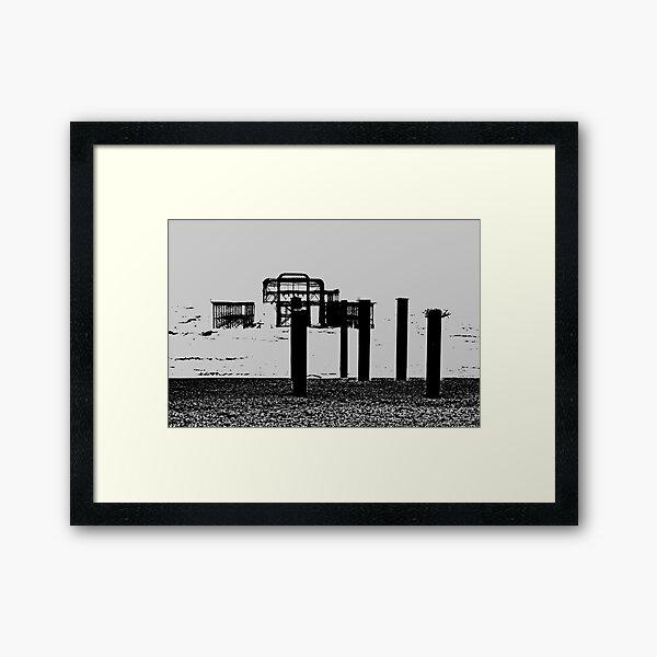 West Pier - Mono Framed Art Print