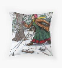 Snowflake Girl Throw Pillow