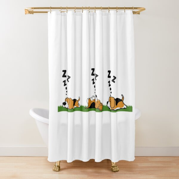 Sleeping Beagle Dog Shower Curtain