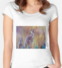 Kangaroos in Long Grass Women's Fitted Scoop T-Shirt