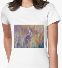 Kangaroos in Long Grass Women's Fitted T-Shirt