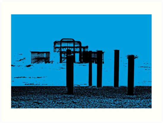 West Pier - Mono in Blue by Andy Broomfield