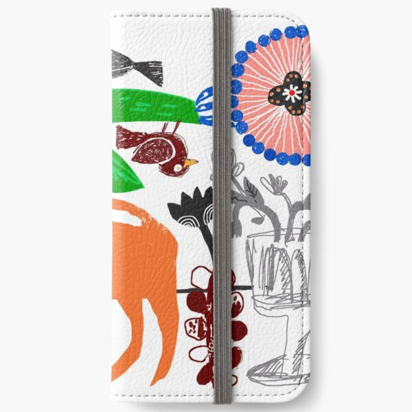 Cat and Flowers 1 iPhone Wallet