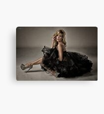 Julie Black Mesh Dress Canvas Print