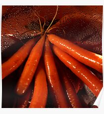 Tasty moist carrots in a colander Poster